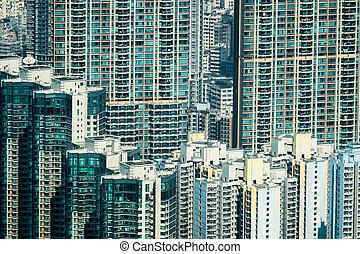 skyscrapers., cityscape, hong, futuriste, kong
