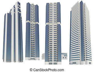 Skyscrapers. Isolated render on a white background