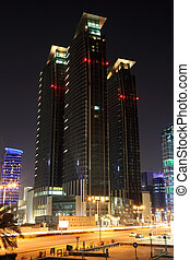 Skyscrapers downtown in Doha at night. Qatar, Middle East