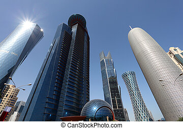 Skyscrapers downtown in Doha, Qatar, Middle East