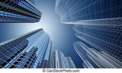Skyscrapers - 3d generated  modern office buildings
