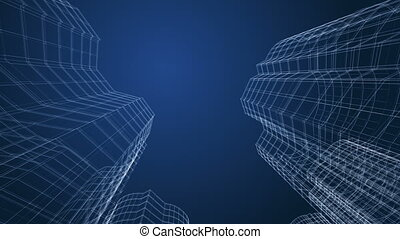 Skyscrapers - City buildings project. 3d wireframe.