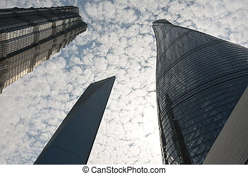 Skyscrapers from a low angle view in modern city of China