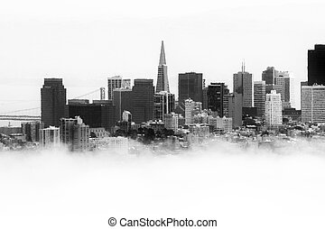Transamerica Pyramid - Skyscrapers in a city, Transamerica...