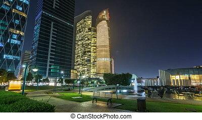 Skyscrapers in Abu Dhabi Skyline at night timelapse...