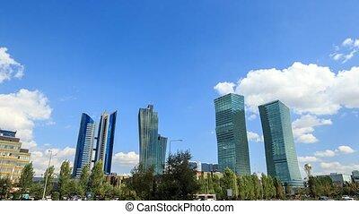 Skyscrapers in Astana, Kazakhstan. Time Lapse