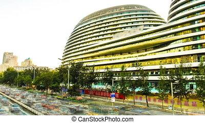 Skyscrapers in Beijing. Timelapse