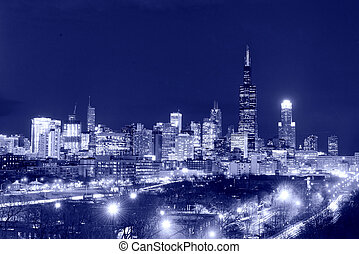 Skyscrapers in City of Chicago at night, Illinois, USA