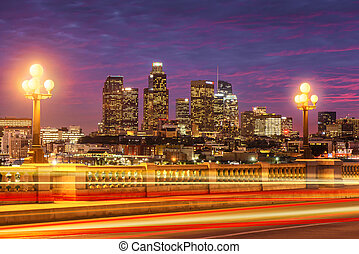 Skyscrapers in downtown Los Angeles California at sunset. View from bridge