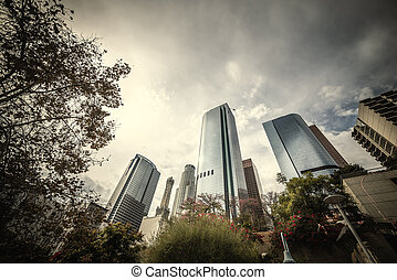 Skyscrapers in downtown Los Angeles under an overcast sky