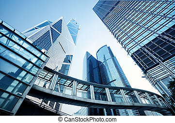Skyscrapers in Hong Kong - Toned image of modern office...