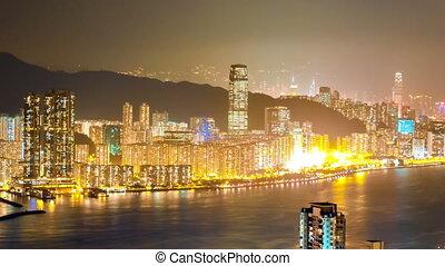 Skyscrapers in HongKong. Timelapse