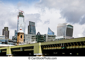 Skyscrapers in London. City view of high-rise buildings