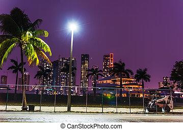 Skyscrapers in Miami Beach on a clear night