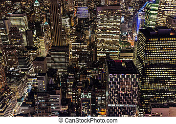 skyscrapers in NYC at night