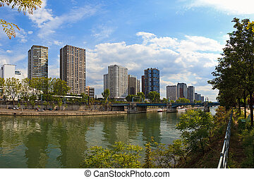 Skyscrapers in Paris - View on Seine river and skyscrapers...