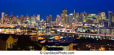 San Francisco at night - Skyscrapers in San Francisco at...