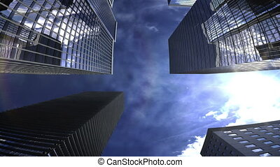 Skyscrapers in the city with blue s