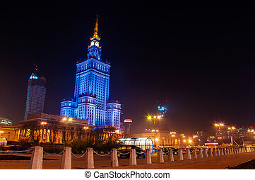 Warsaw - Skyscrapers in Warsaw, night view