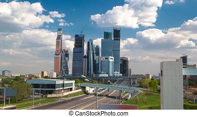 Skyscrapers International Business Center City at cloudy day timelapse hyperlapse, Moscow, Russia