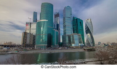 Skyscrapers International Business Center City at evening hyperlapse timelapse, Moscow, Russia