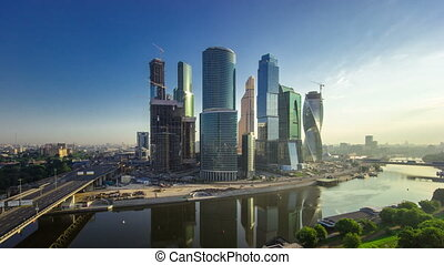 Skyscrapers International Business Center City at evening timelapse, Moscow, Russia