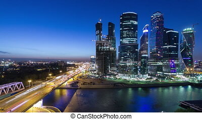 Skyscrapers International Business Center City at night timelapse, Moscow, Russia