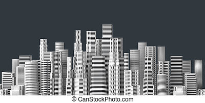 Skyscrapers isolated on dark background. 3D illustrating.