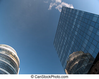 Skyscrapers low-angle view - Two skyscrapers low-angle view...