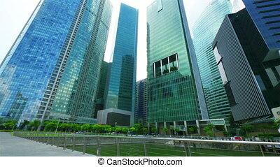 skyscrapers., movimento, timelapse