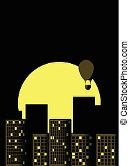 Skyscrapers night. Panorama of a big city in retro style. Yellow with black. Hot air balloon over the city. Vector illustration