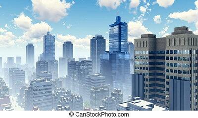 Skyscrapers of big city panorama 4K