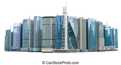 Skyscrapers of downtown. City skyline isolated on white background. Real estate, financie and commerce concept.