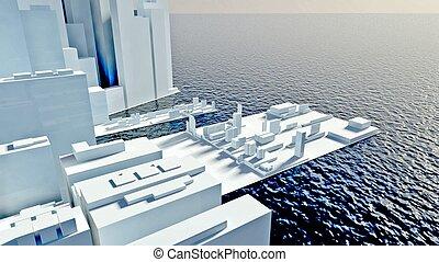 Skyscrapers of future modern city ashore