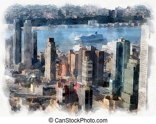 Skyscrapers of Manhattan. New York city in the summer