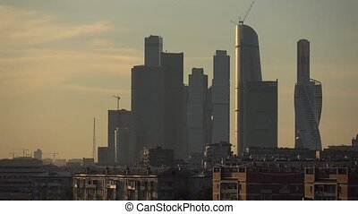 Skyscrapers of Moscow city business district in the evening...