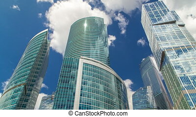 Skyscrapers of Moscow-city timelapse with reflections on...