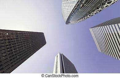 Skyscrapers of Shinjuku, Tokyo,looking up - Looking up at...