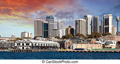 Skyscrapers of Sydney Harbour in Port Jackson, natural...