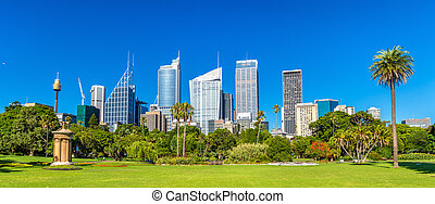 Skyscrapers of Sydney seen from Royal Botanical Garden