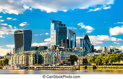 Skyscrapers of the City of London in England