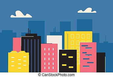 skyscrapers., oficinas, urbano, hotels., highrise, ...