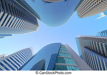 Skyscrapers on blue sky background. in modern or futuristic downtown of the city, Low angle view.