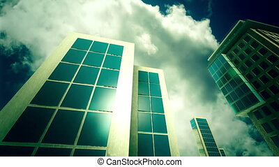 Skyscrapers on sky background. Look at up. Bottom view. Day,...