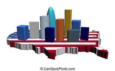 skyscrapers on USA map flag
