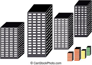 Skyscrapers on white background
