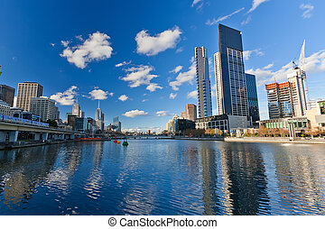 Skyscrapers on Yarra River, Melbourne