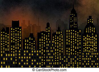 skyscrapers - panorama of modern city