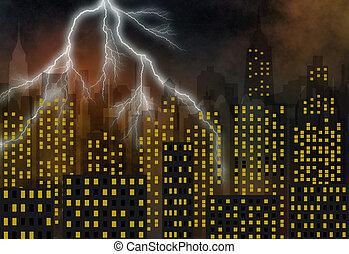 skyscrapers - panorama of modern skyscraper town - stormy