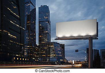 skyscrapers., prossimo, interpretazione, vuoto, tabellone, crepuscolo, 3d